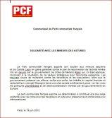 Carta de Apoyo del Partido Comunista Francés