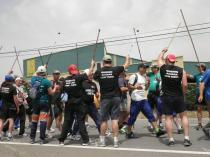 El paseillo a la Marcha del 92! Un gran apoyo para la nueva generacion de mineros!