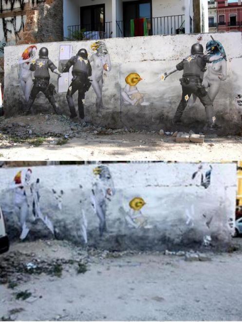 """""""Don't be afraid/No tengas miedo"""" de Vinz Feel Free, dedicado a las mujeres de los mineros de Asturias, León y Teruel, vandalizado por policías nacionales"""