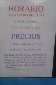 Piscina de Ciñera apoya a los mineros