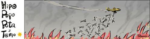 Combatiendo el fuego con descargas de tijeras (Viñeta de Ramón en El País)