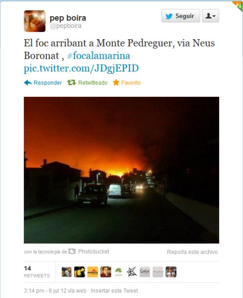 El foc arribant a monte pedreguer