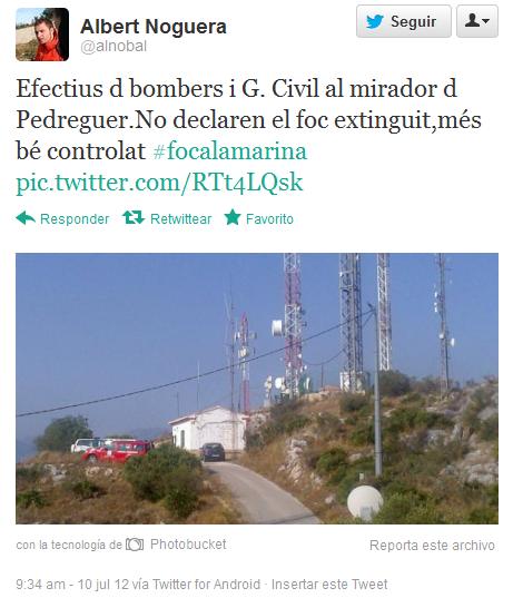 Efectius d bombers i G. Civil al mirador d Pedreguer.No declaren el foc extinguit,més bé controlat #focalamarina pic.twitter.com/RTt4LQsk