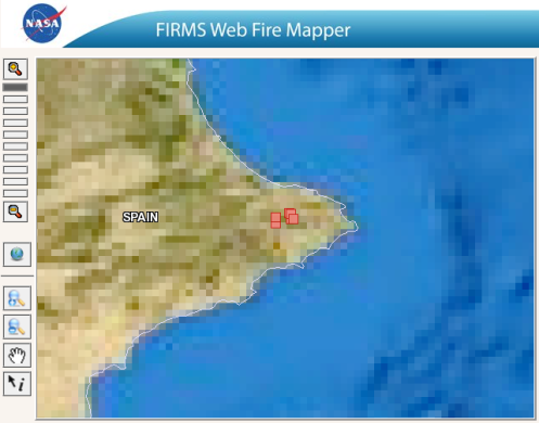 FIRMS Fire Mapper. Incendio Gata. 10 julio