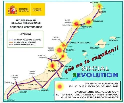 """Incendios forestales durante 2012 coinciden """"sospechosamente"""" con el corredor mediterráneo del AVE"""