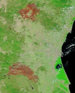 Incendios Cortes y Andilla (Valencia). Foto NASA satélite Modis.terra, 250m. 3-jul-12