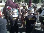 Los Bomberos de la Comunidad de Madrid dan la bienvenida a los mineros de la Marcha Negra a su paso por Las Rozas